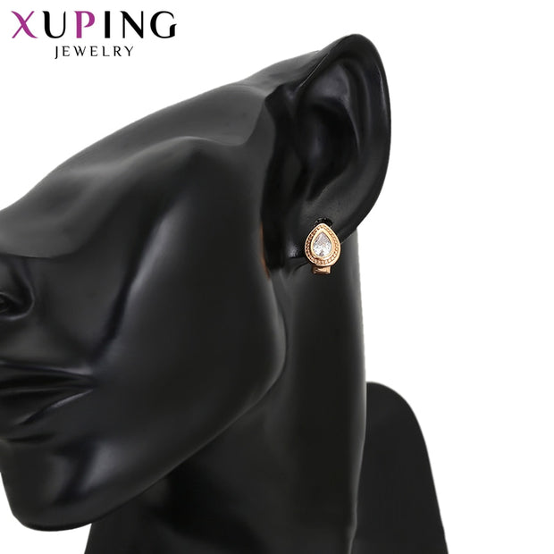 Xuping New Luxury Gold-color Plated Hoop Earrings With Synthetic Cubic Zirconia Jewelry For Women Gift S118.1-97677