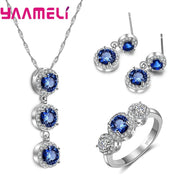 YAAMELI Top Quality Blue CZ Stone Jewelry For Forever Love 925 Sterling Silver Dangle Earring Pendant Necklace Rings Bridal Sets