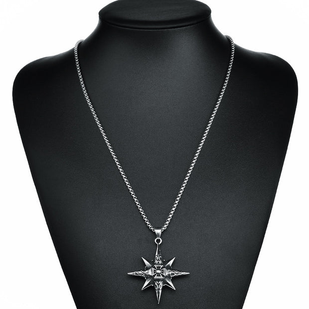 YANGQI 316L Stainless Steel Star Totem Pendant Necklace For Men Knight Templar Cross Necklace Silver Color Chain Necklace Male