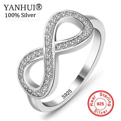 YANHUI Eternity Ring 925 Sterling Silver Infinity Ring Charms Best Friend Gift Endless Love Symbol Fashion Rings For Women R023