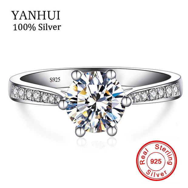 YANHUI Luxury 6mm 1 Carat CZ Diamant SONA Ring 925 Sterling Silver Fine Jewelry Bride Engagement Wedding Rings For Women JZ226