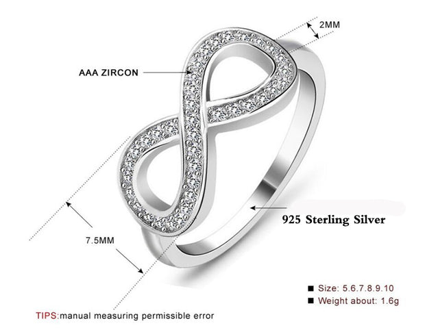 YHAMNI Fashion Eternity Ring 925 Sterling Silver Ring Luxury Cubic Zirconia Engagement Wedding Rings Gift For Women RA023