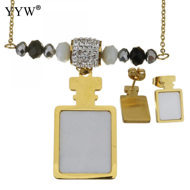 YYW 2018 New Fashion Stainless Steel Jewelry Set New Earring Necklace With Rhinestone Clay Pave Crystal Preciosa Perfume Bottle