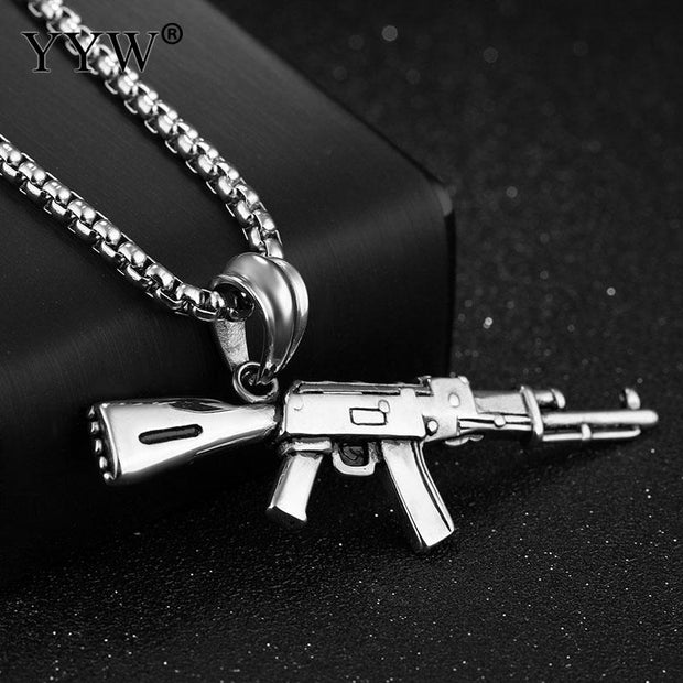 YYW Hip Hop Jewelry AK47 Assault Rifle Pattern Necklace 3 ColorS Stainless Steel Cool Fashion Pendant & Chain For Men Jewelry