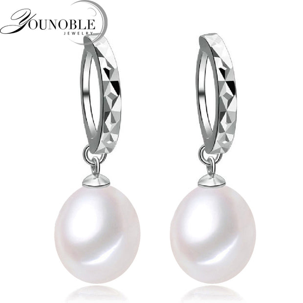 YouNoble Natural Pearl Earring,Pearl With 925 Silver Earrings,Birthday Gift Jewelry Accessories Earrings For Women White
