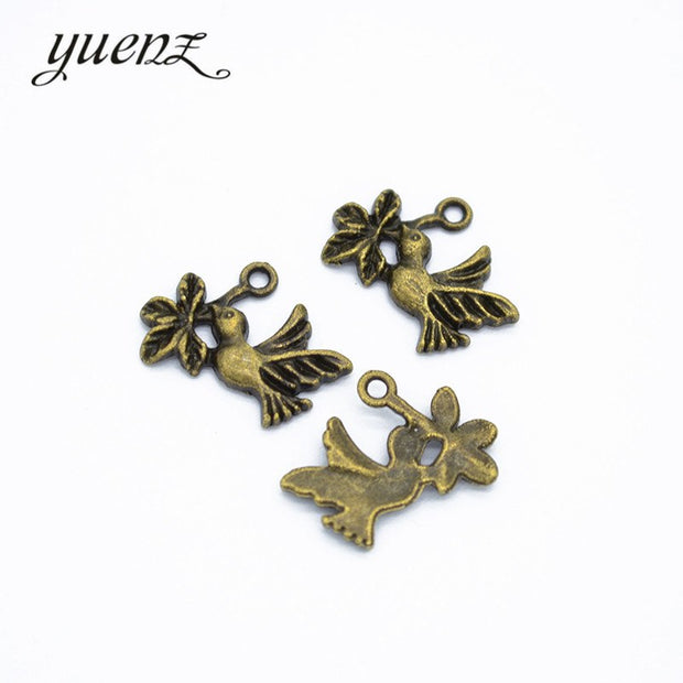 YuenZ 70pcs Peace Bird Charms Metal Pendants Fit Necklace Jewelry Making 20*14mm D542