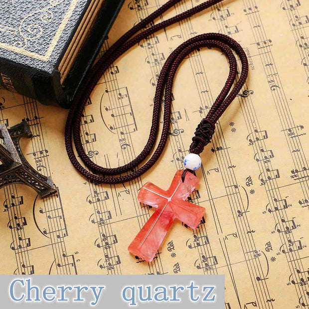 Yumten Christian Cross Party Necklace Jewelry Ruby Gem Cute Charms Dragon Woman Natural Garnet Vintage Collar Chokers Bohemian