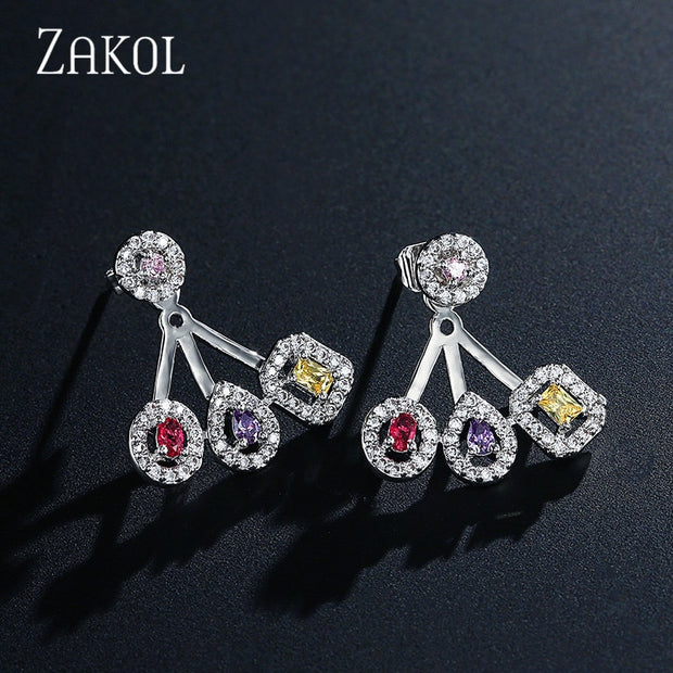 ZAKOL Brand New Delicate Luxury Gemoetric Cubic Zirconia Drop Earrings For Women Party Wedding Jacket Jewelry FSEP2083