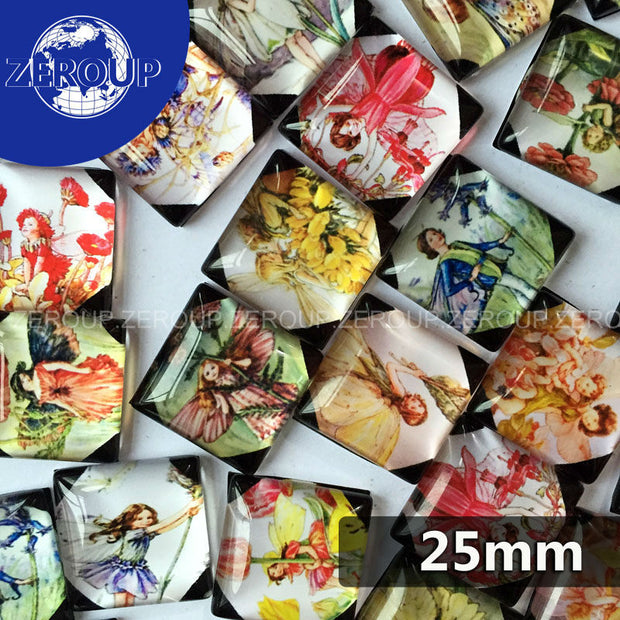 ZEROUP 20pcs/lot 25mm Clear Square Glass Cabochon The Girl With Brandished Wings Pattern Mixed Color Fit Cameo Base Setting