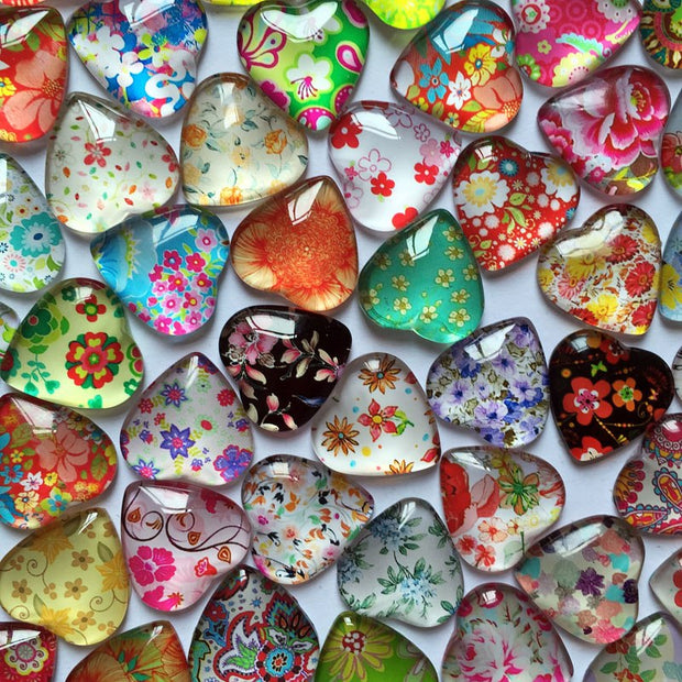 ZEROUP 50pcs 12mm Heart Glass Cabochons Mixed Pattern Cameo Photo Cabochons Handmade Supplies For Jewelry Components 002