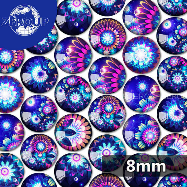 ZEROUP 8mm Round Blue Flowers Pictures Glass Cabochon Mixed Patterns Fit Cameo Base Setting For Flat Back Jewelry 100pcs/lot