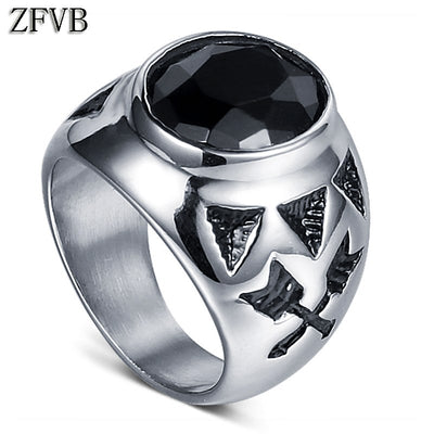 ZFVB Classic Men Ring 316L Stainless Steel High Polished Black Crystal Army Mens Punk Ring Jewelry Party Gift Free Freight