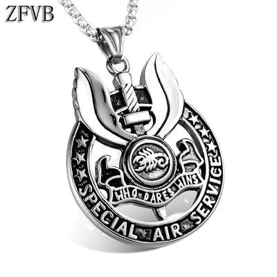 ZFVB Classic WHO DARES WINS SAS Pendant Necklace Mens 316L Stainless Steel SPECIAL AIR SERVICE Pendants Jewelry Bijoux Gift
