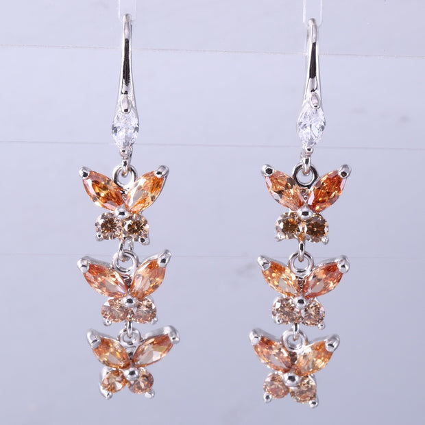 ZHE FAN Black Colorful Red AAA Cubic Zircon Fashion Butterfly Dangle Earrings For Women Birthday Mother's Day Party Gift Jewelry