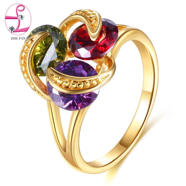 ZHE FAN Luxury Gold Color Plated Rings Blooming Flower AAA Cubic Zircon Female Party Copper Jewelry Romantic Wedding Ring