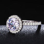 ZHE FAN Round AAA Cubic Zirconia Engagement Promise Ring Rhodium Rose Gold Color Plate White Micro CZ Halo Women Rings Size 5-10