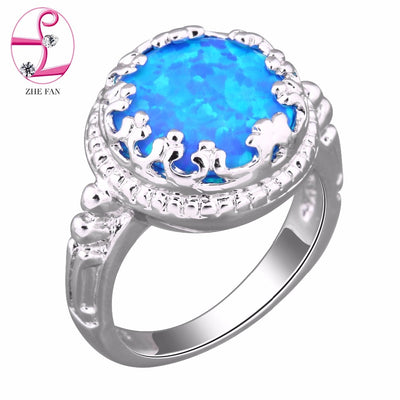 ZHE FAN Round Blue Pink White Fire Opal Ring Women Engagement Wedding Classic Big Stone Rings For Female Fashion Brand Jewelry