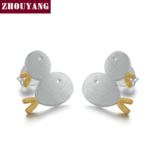 ZHOUYANG S925 Stud Earrings For Women Wiredrawing Little Fish 925 Sterling Silver Two-tone Fashion Jewelry Cocktail Party EY028