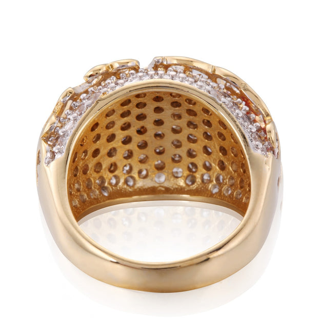 ZMZY Fashion Punk Biker Gold Color Hollow Pave Crystal 316L Stainless Steel Ring Engagement Rings For Women Jewelry