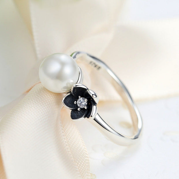 ZMZY Genuine 100% 925 Sterling Silver Pearl Mystic Floral Stackable Engagement Rings For Women Original Fine Jewelry Gift
