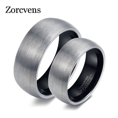 ZORCVENS Couple Rings Tungsten Wedding Engagement Promise Band Rose Gold Or Black Color Men Women Top Quality Never Fade