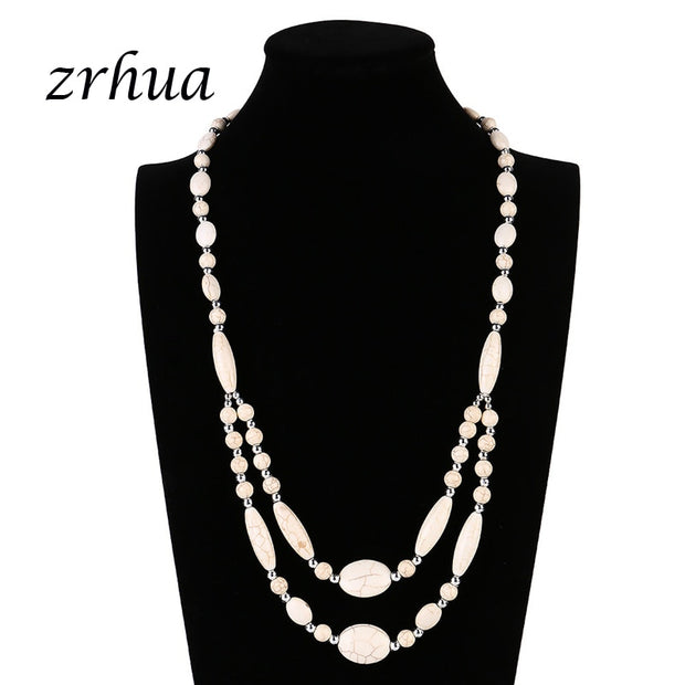 ZRHUA Fashion Classic Retro Double Layered Natural Green Opal Boho Long Women Necklace Collier Femme Collar Mujer Collares Bead