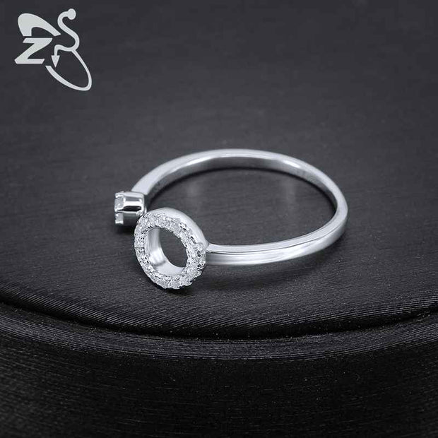 ZS Crystal Rings Real 925 Sterling Silver Rings For Women Engagement Adjustable Anillos Cute Round Finger Rings Bague Femme