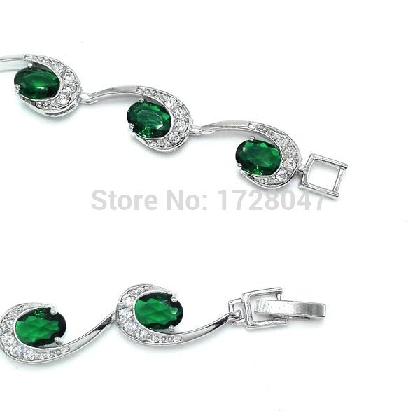 Zircon Bracelet Design Trendy Rhodium Plated Luxury Green AAA Cubic Zirconia Jewelry Chain Bracelets & Bangle Wholesale