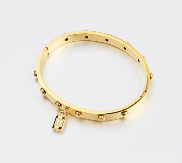 Zircon Crystal Lock Women Gold Color Bracelets Bangles Famous Brand Style Fashion Jewelry For Women