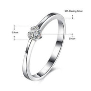Zircon Heart Rings For Women Girls 100% 925 Sterling Silver Engagement Wedding Female Ring 2017 Fashion Jewelry Bagues Femme