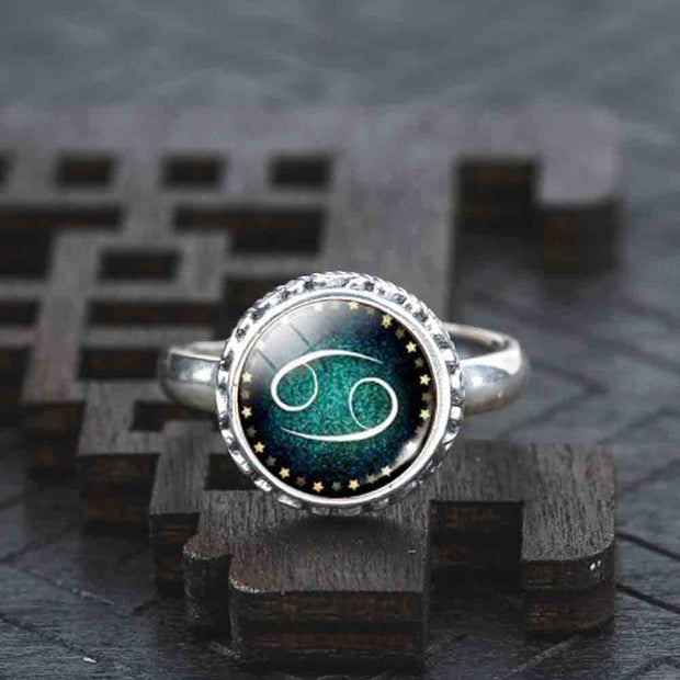 Zodiac Classic Womens Real Solid 925 Sterling Silver Ring Hollow Moon Glass Cabochon Fashion Jewelry Best Friend Romantic Maxi