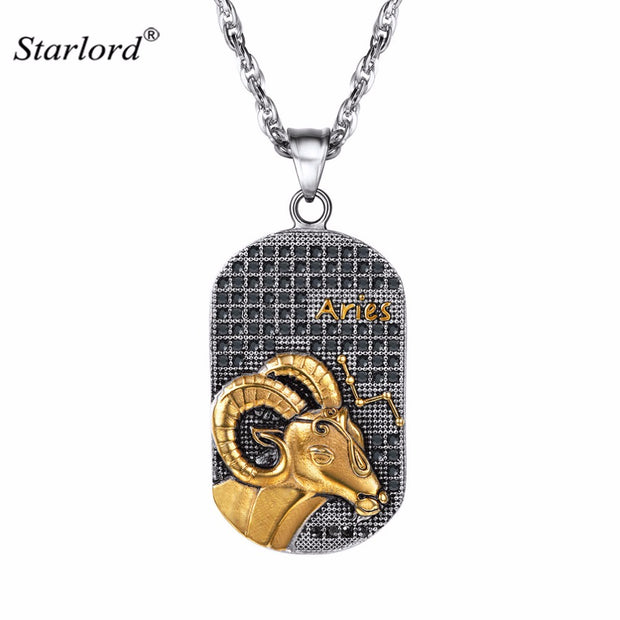 Zodiac Necklace ARIES Pendant Necklace Stainless Steel Constellation Gift Patron Saint Marc Necklace Cameo Dog Tag For Men P2921