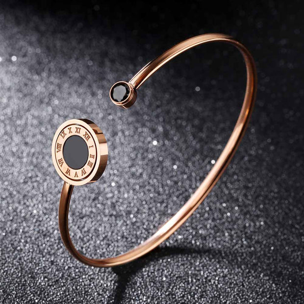 ZooMango Classic Stainless Steel Roman Numerals Open Bangles Bracelet Rose Gold Cubic Zirconia Shell Women Bangle Jewelry OGH892