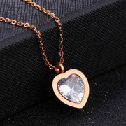 ZooMango Classic Titanium Steel Rose Gold Color Inlaid Heart Cubic Zirconia Pendant Necklace Female Jewelry DropShipping OGX1198