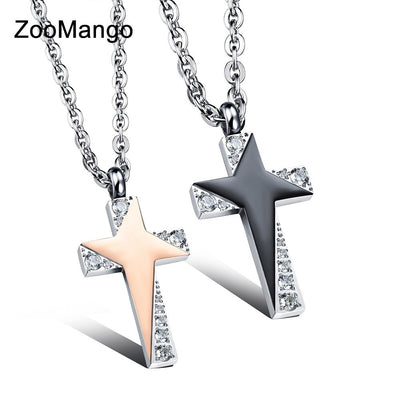 ZooMango Cross Design Lover's Pendant Necklaces Classical Cubic Zirconia Stainless Steel Women Men Jewelry Necklace OGX1039