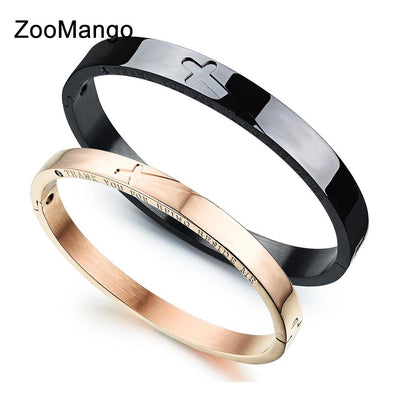ZooMango Titanium Steel Love Couple Cuff Bangles Classic Cross Puzzle Black/Rose Gold Bracelets Jewelry For Women Men OGH772