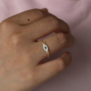 Delicate Chain Band Charm Ring Elegance Minimal Girl Women 925 Sterling Silver Fine Jewelry Cute Eye Ring For Women