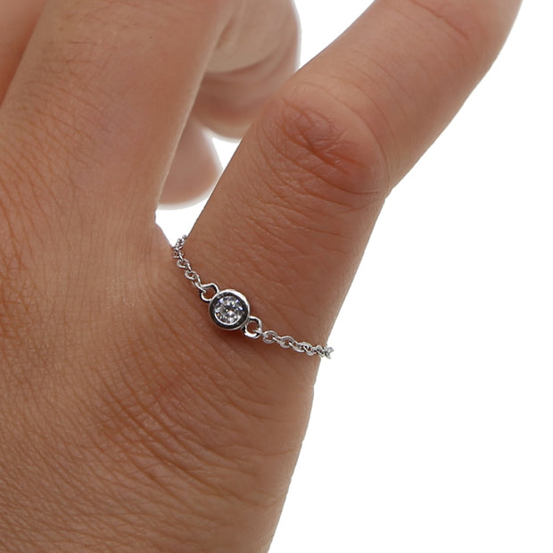 Delicate Dainty Chain Rings 100% 925 Sterling Silver Single Stone Cz Sparking Simple Women Girl #5-#8 Silver Chain Cz Ring