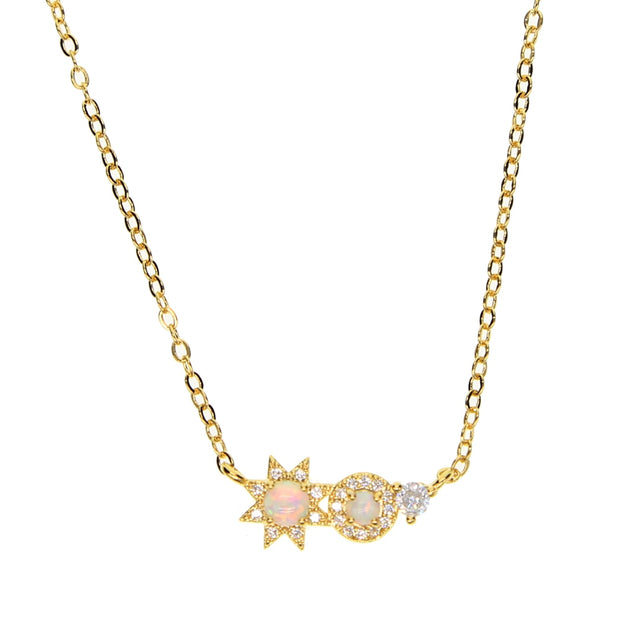 Delicate Minimalist Jewelry Micro Pave Clear Cz Fire Opal Stone Sun Flower Design Gold Color High Quality Fashion Necklace Style