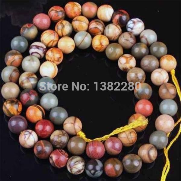 "! Design Christmas 8MM PICASSO Chalcedony STONE ROUND BALL LOOSE BEADS 15"" JT5126"