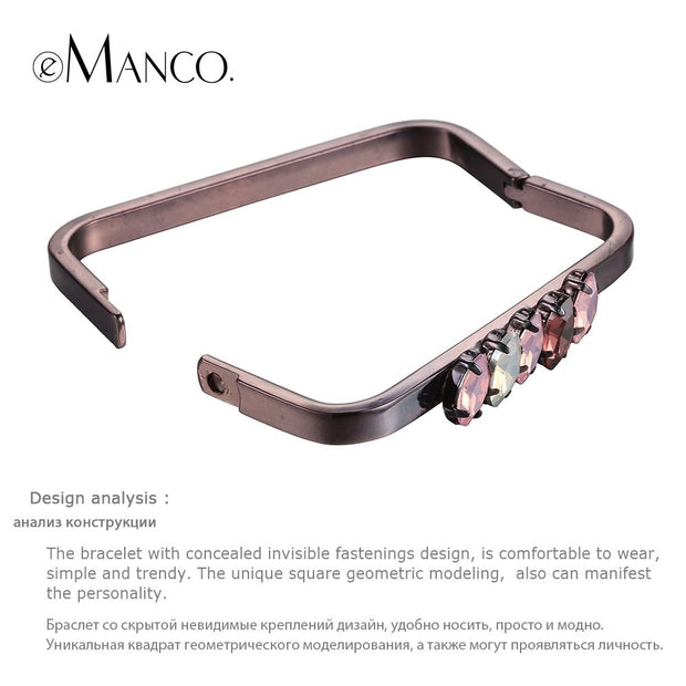 EManco Square Bangle Geometric Crystal Copper Bangles Bracelets Women Gold Cuff Thin Bangles Pulseras Mujeres BL06942