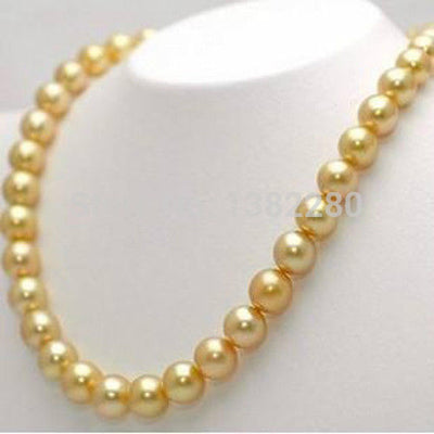 "! Fashion DIY Jewelry +10mm Golden South Sea Shell Pearl Necklace 36"" JT5745"