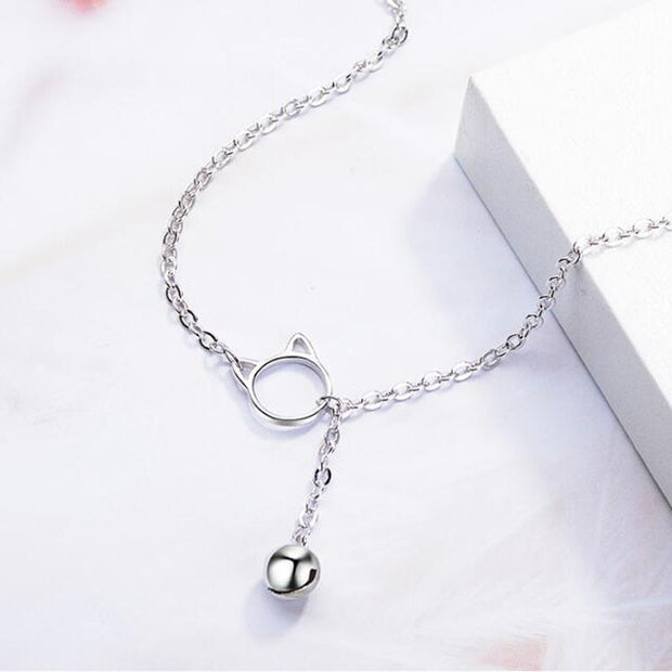 Fashion Jewelry 925 Silver Cat Shape Bell Charm Decorations Bracelet For Women/girl Party Jewelry
