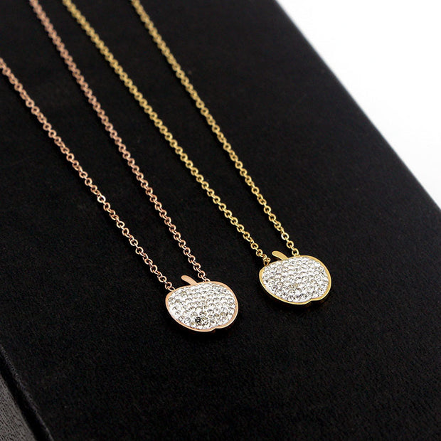 Fashion Jewelry Crystal Rhinestone Heart Sharped Stainless Steel With Free Chain For Women Jewelry Necklaces & Pendants