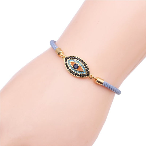 Fashion Micro Copper Inlay Zircon Evil Eye Bracelets The Adjustable Smoked Pull Hand Catenary Factory Direct Sale