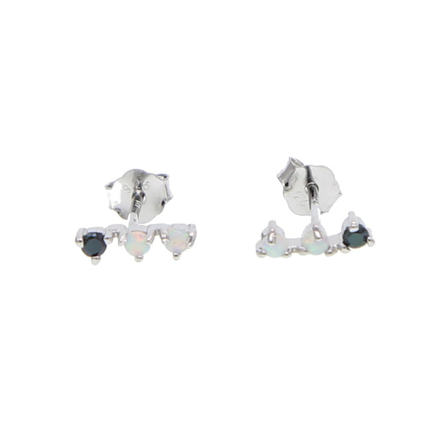Fine Silver Jewelry Black Cubic Zirconia Tiny Three Stone Bar Studs Opal Stone Women Girl 925 Sterling Silver Stunning Earring
