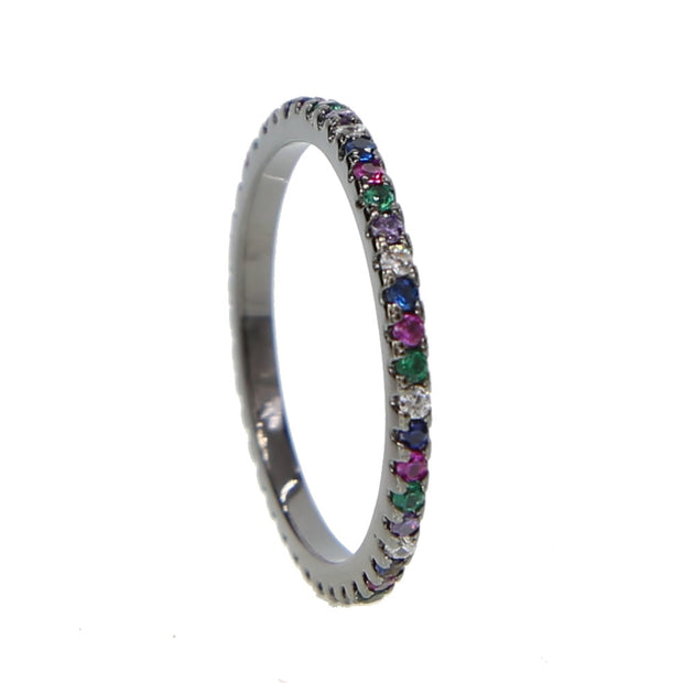 Free Shipping Delicate Fashion Jewelry Multi Color Eternity Band Rainbow Full Cz Band Engagement Gold Color Ring