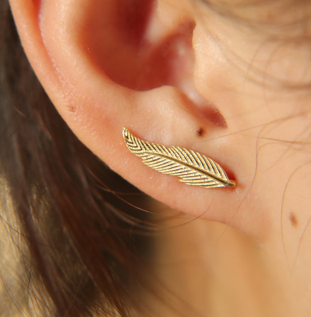 Gold Silver Color 100% 925 Silver Matal Women Ladies High Quality Jewelry Climber Feather Shape 2017 New Anti Allergy Earring