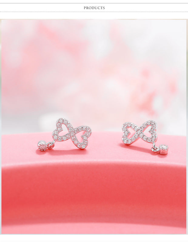 Heart Cherry Cz Earrings 100% 925 Sterling Silver Jewelry Fashion Hypoallergenic Stud Earrings For Girl Christmas Gift