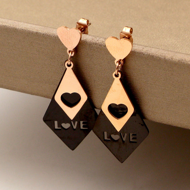 Heart Shape Stainless Steel Sparkling Earrings For Women Compatible With Jewelry Gift Earing For Woman Jewelry